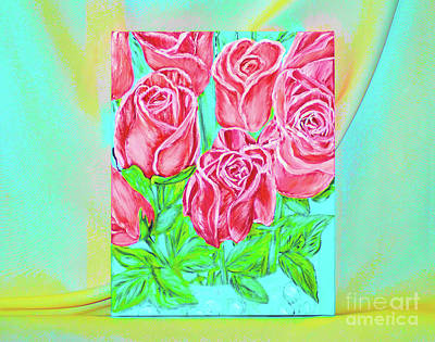 Painting - Magnificent Roses. Painting. Bold Colors by Oksana Semenchenko