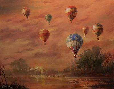 Balloon Festival Painting - Magnificent Seven by Tom Shropshire