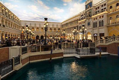 Photograph - Magnificent Shopping Destination - Saint Marks Square At The Venetian Grand Canal Shoppes by Georgia Mizuleva