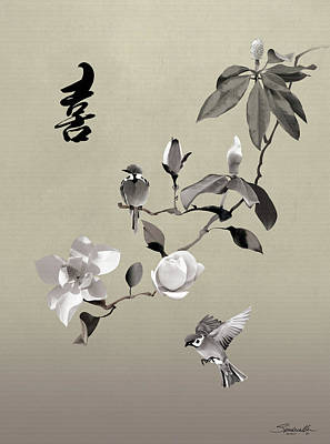 Digital Art - Magnolia And Two Sparrows by IM Spadecaller