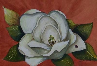 Magnolia Bloom With Ladybug Art Print by Yvonne Kinney