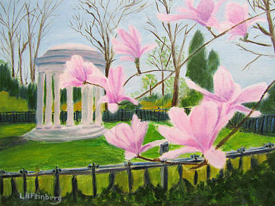 Painting - Magnolia Blossoms At Wagner Park by Linda Feinberg