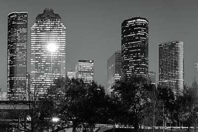 Photograph - Magnolia City In Black And White - Houston Texas Skyline by Gregory Ballos