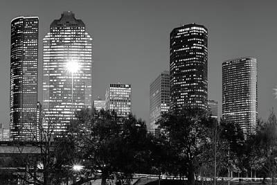 Metro Art Photograph - Magnolia City In Black And White - Houston Texas Skyline by Gregory Ballos