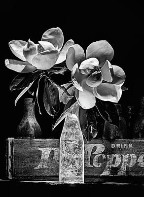 Photograph - Magnolia Dr Pepper Still Life In Black And White by JC Findley