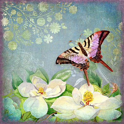 Blue Swallowtail Painting - Magnolia Dreams  by Audrey Jeanne Roberts