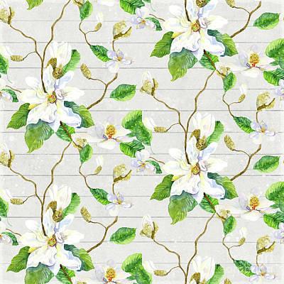Magnolia Farmhouse Watercolor Chinoiserie Watercolor Home Decor Pattern Original