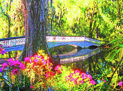 Mixed Media - Magnolia Gardens Bridge by Dennis Cox Photo Explorer