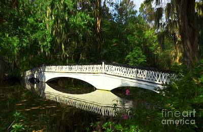 Photograph - Magnolia Gardens Bridge Reflections by Mel Steinhauer