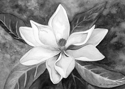Digital Art - Magnolia In Black And White by Kerri Ligatich