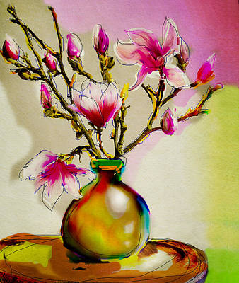 Painting - Magnolia In Pink by Linde Townsend