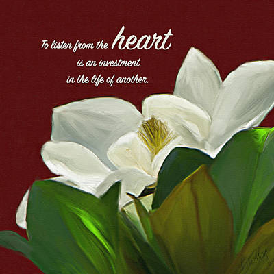 Listening Digital Art - Magnolia Listen From The Heart by Linda King