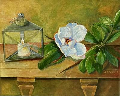 Painting - Magnolia On Mantel  by Jane Ricker