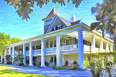 Mixed Media - Magnolia Plantation House by Dennis Cox Photo Explorer