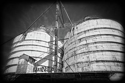Photograph - Magnolia Silos In Black And White by Lynn Bauer