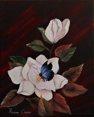 Painting - Magnolia With Butterfly by Fram Cama