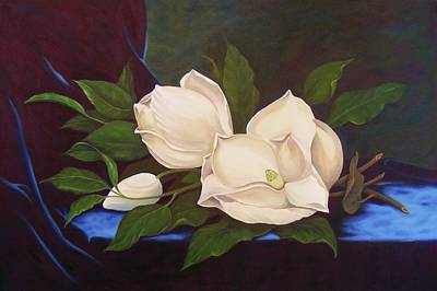 Painting - Magnolias After Mj Heade by Jean LeBaron