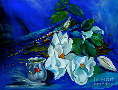 Magnolias And Cream Art Print by Jenny Lee