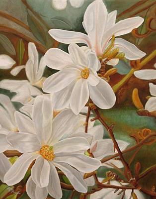 Magnolias Original by Angeles M Pomata