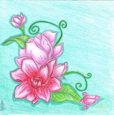 Magnolia Flower Drawing - Magnolias by Miss FionaB