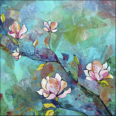 Pink Flower Branch Painting - Magnolias by Shadia Derbyshire