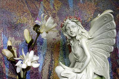 Magnolias With Fairy Art Print