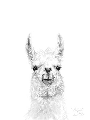 Llama Wall Art - Drawing - Magnus by K Llamas