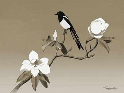 Digital Art - Magpie And White Magnolia by Spadecaller