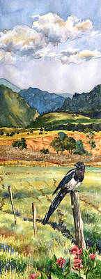 Magpies Painting - Magpie by Anne Gifford