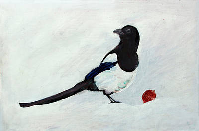 Magpies. Snow Painting - Magpie by Christian Eberli