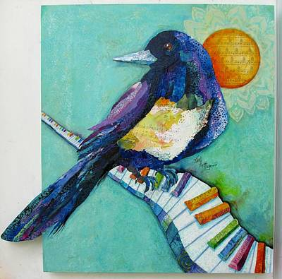Magpies Mixed Media - Magpie Maggie by Kathy Fitzgerald