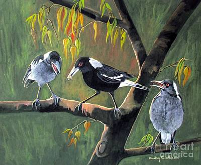 Magpie Mother Feeding Her Young Original by Audrey Russill