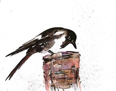 Magpies Wall Art - Painting - Magpie On A Stump by Carolyn Doe