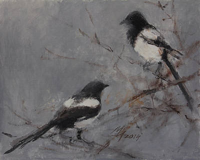 Painting - Magpies by Attila Meszlenyi