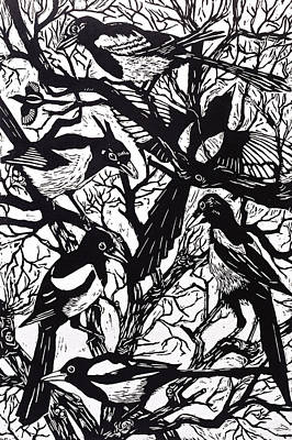 Magpies Painting - Magpies by Nat Morley
