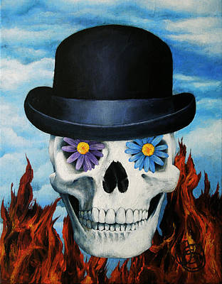 Rene Magritte Painting - Magritte Bowler Hat Skull by Johanna Uribes