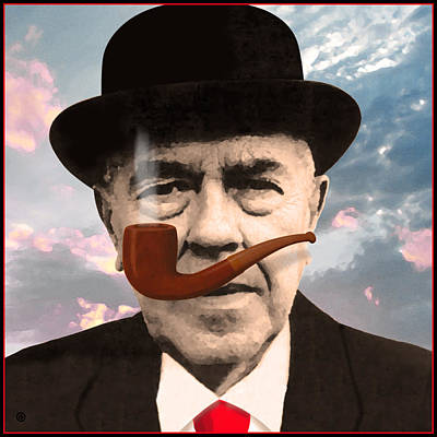 Painting - Magritte Portrait by Gary Grayson
