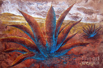 Amate Bark Paper Painting - Maguey by J- J- Espinoza