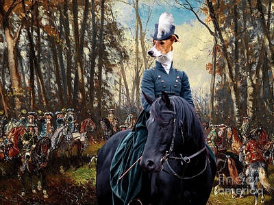 Painting - Magyar Agar - Hungarian Greyhound Art Canvas Print - The Noble Hunt Party by Sandra Sij