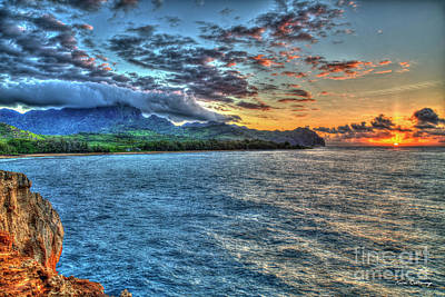 Wild And Wacky Portraits Rights Managed Images - Maha ulepu Beach Sunrise Kauai Hawaii Art Royalty-Free Image by Reid Callaway
