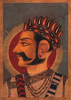 Indi Painting - Maharaja Man Singh,king Of Bundi Raaj, Miniature Painting Of Indi, Watercolor Artwork. by A K Mundra