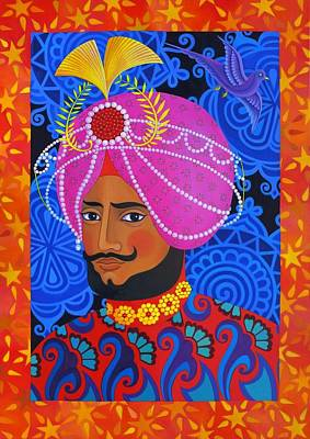 Multi Colored Painting - Maharaja With Pink Turban by Jane Tattersfield
