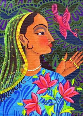 Multi Colored Painting - Maharani With Magenta Bird by Jane Tattersfield