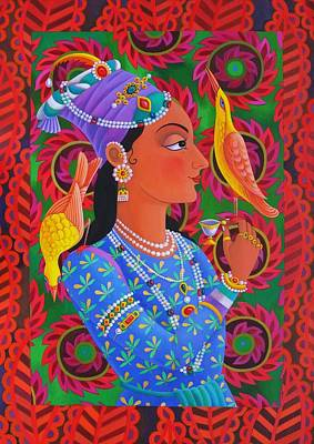 Rajasthan Painting - Maharani With Two Birds by Jane Tattersfield