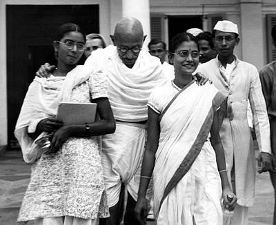 Gandhi Photograph - Mahatma Gandhi, At Age 70, With His Two by Everett