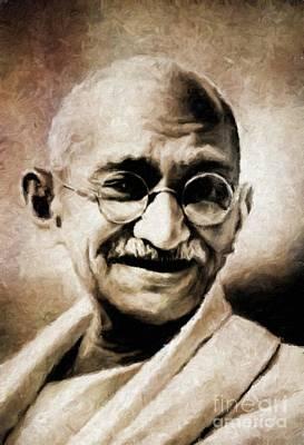Mahatma Gandhi By Mary Bassett Art Print by Mary Bassett