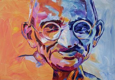 Colorful Painting - Mahatma Gandhi by Dima Mogilevsky