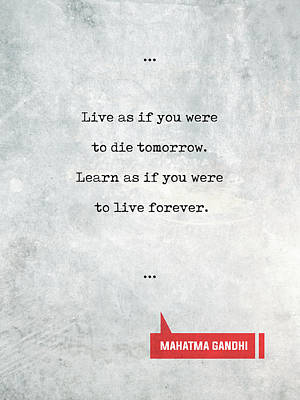Mixed Media - Mahatma Gandhi Quotes 1 - Literary Quotes - Book Lover Gifts - Typewriter Quotes by Studio Grafiikka