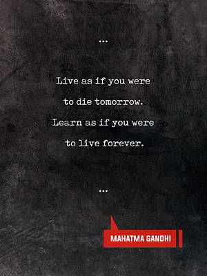 Mixed Media - Mahatma Gandhi Quotes - Literary Quotes - Book Lover Gifts - Typewriter Quotes by Studio Grafiikka