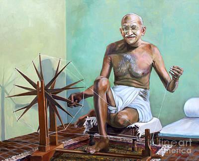 Mahatma Gandhi Spinning Art Print by Dominique Amendola